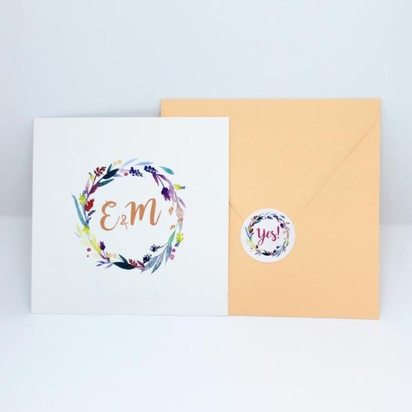 Hochzeitseinladung Flower sticker Briefumschlag