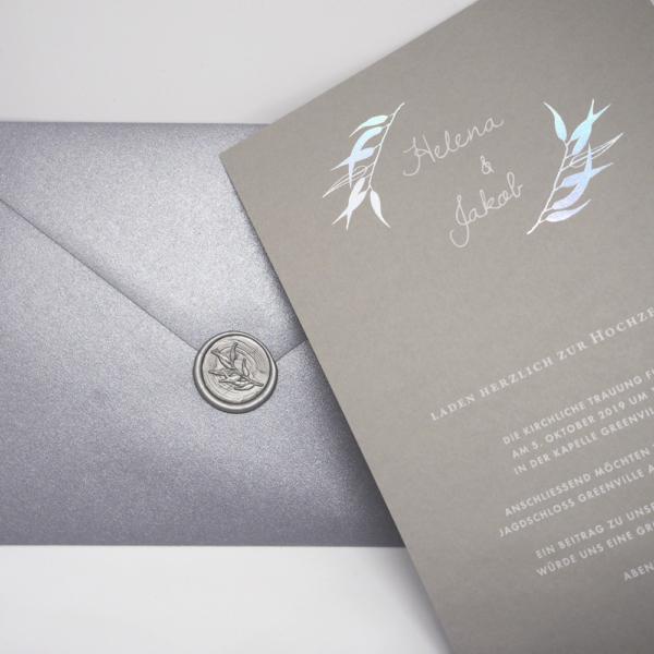 Briefumschlag silber metallic Wachssiegel