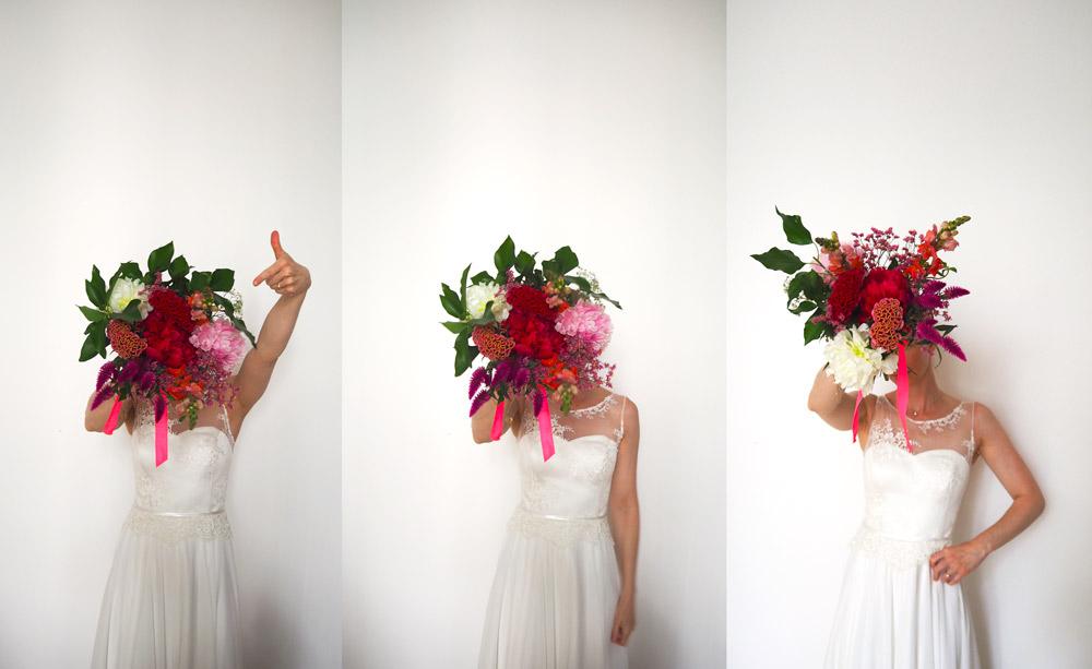Hochzeitsdekoration Blumen zur Flower-Kollektion 3 Bilder Braut mit Strauß