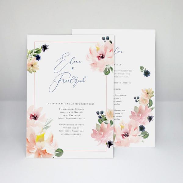 Hochzeitseinladung aquarell ,Blumen, Einladungskarte zur Hochzeit Pfingstrose