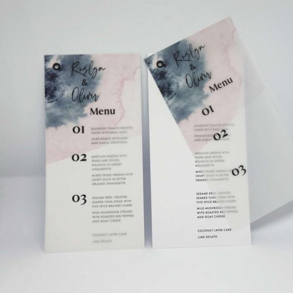 Menükarte Aquarell auf transparentpapier