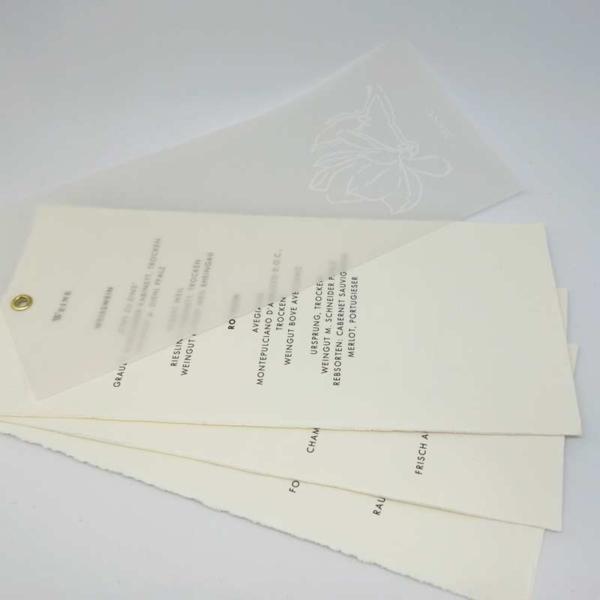 Menükarte Magnolie Bütten Taransparentpapier