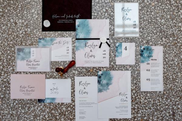 Hochzeitspapeterie Aquarell Blush grau