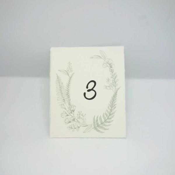 Tischnummer botanical Bütten
